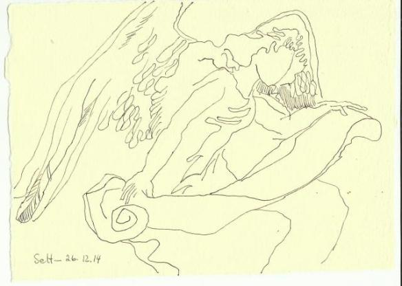 Engel der letzten Weihnacht Vers 2 (c) Zeichnung von Susanne Haun
